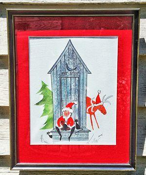 P buckley moss print pit stop santa claus w black cats primitive americana folk art for Sale, used for sale  Saginaw, MI