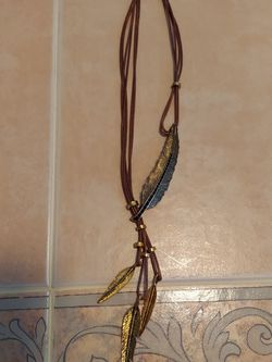 "15.5"" Leather Necklace With Gold Tone Feathers And Dark Blue Stones for Sale in Chelmsford,  MA"