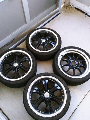 Black rims 4sale hmu for Sale in Merced, CA