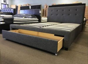 Brand New Queen Size Grey Upholstered Platform Bed Frame w/Storage Drawer for Sale in Wheaton, MD