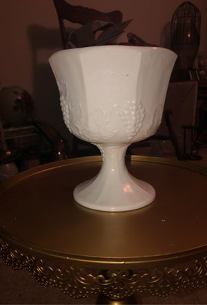 "6.5"" Tall Milk Glass Serving Bowl W/ Embossed Grapevine Pattern on Pedestal; Colony; Bowl, Candy Dish, Planter, Candle Holder for Sale in Plainfield, IL"