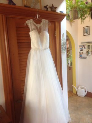 White wedding dress, never worn or hemmed for Sale in Scituate, MA