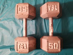 Two 50 lbs HEX DUMBBELLS - GYM EQUIPMENT for Sale in Butler, NJ