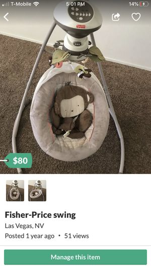 Perfect condition fisher price baby swing for Sale in Las Vegas, NV