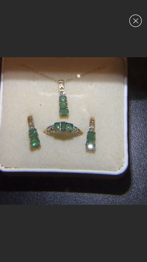 10k gold emerald and diamond set for Sale in Ocoee, FL