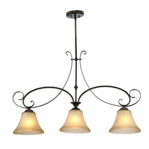 Essex 3-Light Aged Black Kitchen Island Light with Tea Stained Glass Shade for Sale in Las Vegas, NV