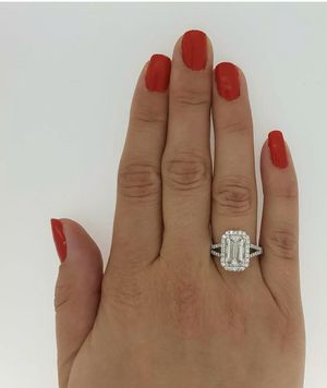 2.25 Ct Halo Split Shank Emerald Cut Diamond Engagement Ring SI2 D White Gold for Sale in Monaca, PA