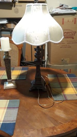 Antique lamp Eiffel Tower Style and Twin candle holders. for Sale in Baltimore, MD