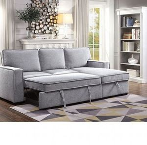 ❆❆GRAY LINEN LIKE FABRIC REVERSIBLE CHAISE SECTIONAL SOFA BED / SILLON CAMA❆❆ for Sale in Downey, CA