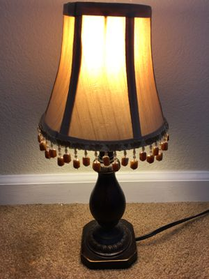 15 inches tall vintage style light brown shade night lamp for Living Room Family Bedroom Bedside Nightstand for Sale in Lodi, CA