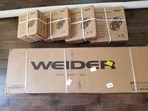 BRAND NEW Weider Lagecy Olympic Bench & 300LB OLYMPIC WEIGHT SET+7FT OLYMPIC BAR/ BARBELL& CLIP 100% CAST IRON PLATE for Sale in Perris, CA