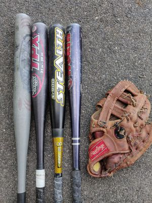 4 Baseball Bats and 1 Basement Glove, All Good Condition for Sale in Stoughton, MA