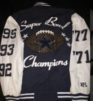 Dallas Cowboys 5 time superbowl jacket. 5 time super bowl champion jacket with each winning year Size large can also fit like a medium size person for Sale in Greenbelt, MD