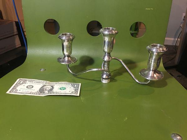 Huge 4 piece Sterling Silver Weighted Candelabra