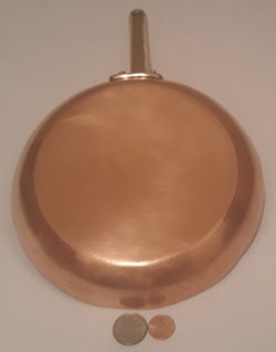 """Vintage Metal Copper and Brass Cooking Frying Pan, 15"""" Long and 8"""""""" Pan Size, Hanging Display, Shelf Display, Kitchen Decor, Quality Copper Pan, #959 for Sale in Lakeside,  CA"""