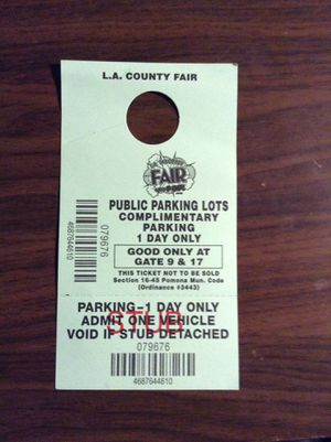 La county fair Parking ticket $7.00 for Sale in Ontario, CA