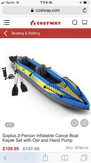 2-Person Inflatable Canoe Boat Kayak Set with Oar and Hand Pump for Sale in undefined