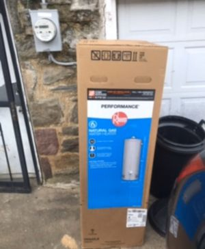 Brand new Rheem tall 40 gallon gas water heater tank boiler Brand new in box never opened. Factory 6 year warranty. Can be delivered or installed for for Sale in Philadelphia, PA