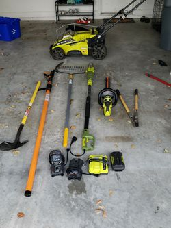 Ryobi Sunjoe Battery And Electric Lawn Equipment. Mower. Trimmer. Electric Pole Saw . Rake. Shovel. Sprinkler. Spreader. Herbicide And Sprayer for Sale in Delray Beach,  FL