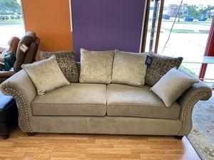 New Grey Sofa With Nailhead Detail & Silver Pillows for Sale in Virginia Beach, VA