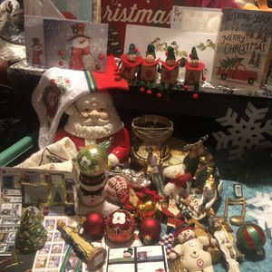 60 Piece Christmas Lot Includes Santa Cookie Jar Frosty Candle Holder Elves Decor Ornaments Gift Tags Hand towels And More for Sale in Covington, KY