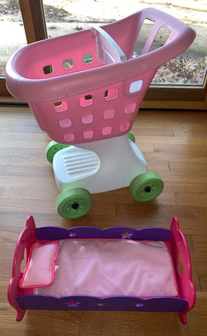 Step 2 toddlers doll shopping cart and doll bed for Sale in Fairfax, VA