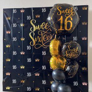 Sweet 16 Birthday Decor Backdrop &balloons for Sale in Menifee, CA