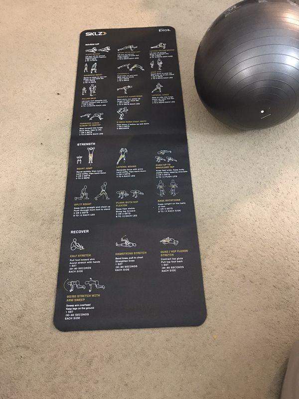 Yoga mat, exercise ball, 2 lb dumbbells