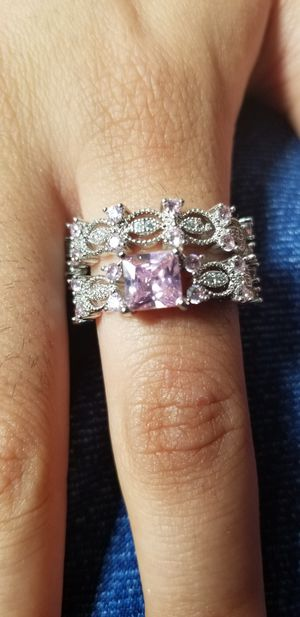Beautiful Amethyst pink and Diamond cut set Ring size 7 for Sale in Chicago, IL