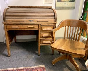 Antique roll top desk and oak swivel chair for Sale in Portland, OR