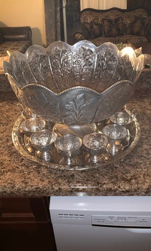 Antique silver plated punch bowl with 12 cups and plate for Sale in Las Vegas, NV