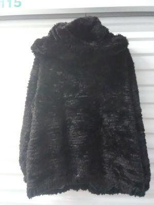 Size 2x adult faux fur black jacket coat hoodie for Sale in Takoma Park, MD