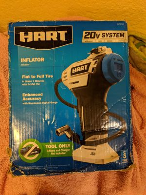 Hart 20-Volt Cordless Inflator with 20-inch Hose (Battery Not Included), Size: 9.13 x 3.13 x 3.13 Inches for Sale in Menifee, CA