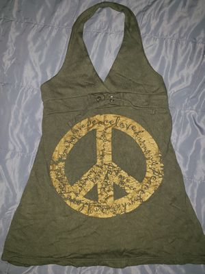 FLOWERS By Zoe Girls Dress Size 5 Olive Green Halter Gold Peace Sign Super Cute for Sale in Fullerton, CA