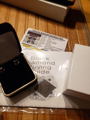1.44ct african black diamond earrings.... Set in solid silver... New!! for Sale in Meriden, CT
