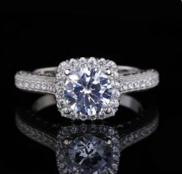 Beautiful Solid 925 sterling Silver Diamond Promise Engagement Wedding Ring 💍 By Rose 🌹 Heart ❤️ Box for Sale in San Jose,  CA