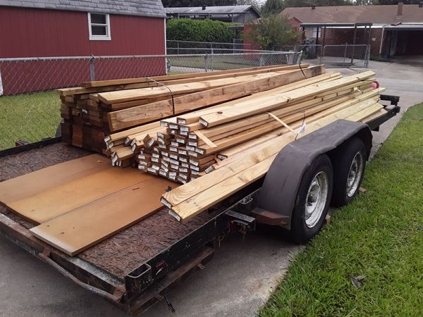 Trailer with wood.