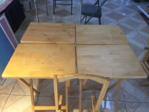 Set of Serving Trays (4 Pieces a Tray Stand) Wood for Sale in Hesperia, CA