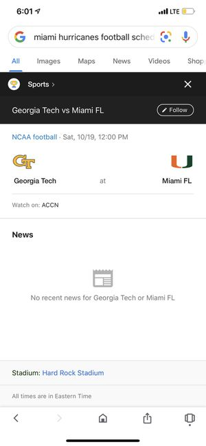 4 tickets and Parking ticket to Miami Hurricanes vs Georgia Tech Saturday October 19 section 313 Row 4 Seats 17,18,19,20 for Sale in Miami, FL