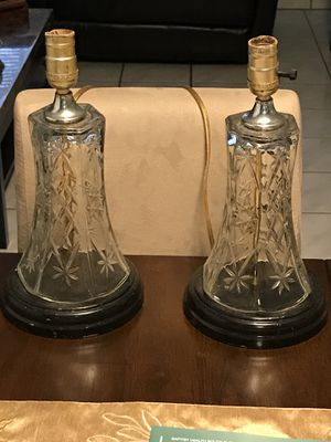 Antique etched glass lamps set of two for Sale in Miami, FL