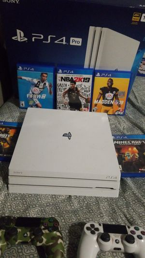 Ps4 pro 1tb all white 5 games 2 controllers for Sale in Fontana, CA
