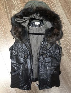 JUNE leather and real fur vest size S womens for Sale in Shoreline, WA