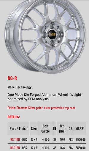 "BBS 17"" RG-R Wheels for Sale in South Miami, FL"