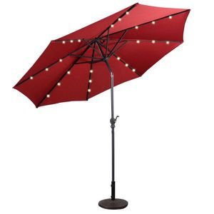 10 ft. LED Steel Market Tilt Patio Solar Umbrella with Crank Outdoor in Burgundy for Sale in La Habra Heights, CA