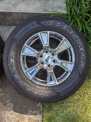 18 in Ford Factory Chrome Rims with tires 275/65 - 4 total for Sale in Springfield, VA