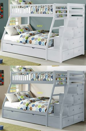 Julian Twin Over Full Staircase Bunk Bed with Trundle for Sale in Houston, TX