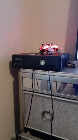 Xbox 360 with controllers and 16 full games downloaded along with gta V disc for Sale in Little Elm, TX