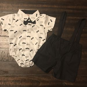 Baby Boy Moustache Print Bow Tie Romper With Strap Shorts for Sale in Selma, CA