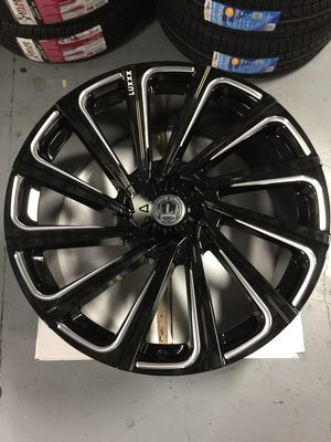 """Brand New 22"""" Inch Lux 22 Gloss Black Milled 22X9.5 Wheels Rims Rines 6X135 6X5.3 6X139.7 6X5.5 for Sale in Austin, TX"""