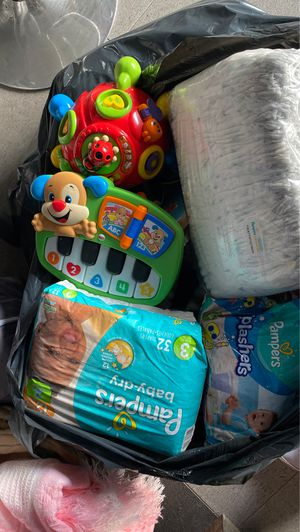 Baby diapers, toys and clothing newborn to 6months for Sale in West Covina, CA